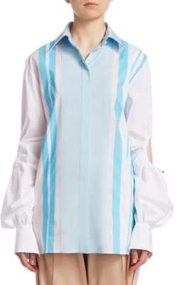 Peter Pilotto Cutout Bell Sleeve Cotton Shirt