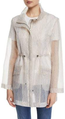 St. John Sequined Transparent Organza Utility Jacket