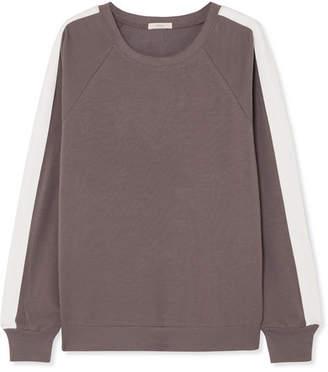 Eberjey Colby Ringer Striped Stretch Pima Cotton And Modal-blend Sweatshirt - Dark gray