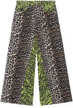 Ganni Printed Denim Pants in Block Color