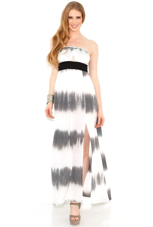 Gypsy Junkies Talulah Strapless Maxi Dress in Black Tie Dye