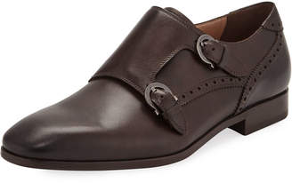 Salvatore Ferragamo Men's Blair Gancini-Buckle Leather Double-Monk Shoe