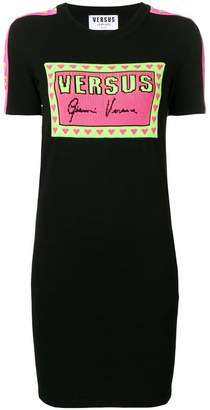 Versus logo print knitted T-shirt dress