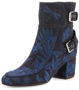 Laurence Dacade Babacar Embroidered Buckle 50mm Bootie, Blue $1,260 thestylecure.com
