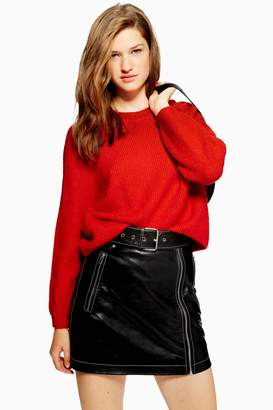 Topshop Womens Petite Ribbed Cropped Jumper - Red