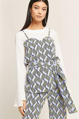 Forever 21 Belted Abstract Print Combo Top