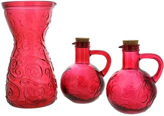 French Home Red Recycled Glass Cruet and Carafe Tabletop Set