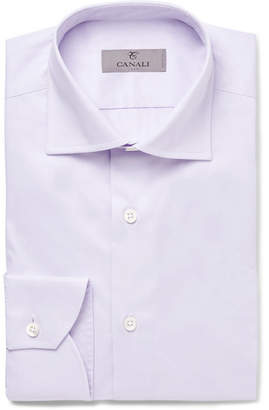 Canali Lilac Slim-Fit Spread-Collar Cotton Shirt - Men - Lilac