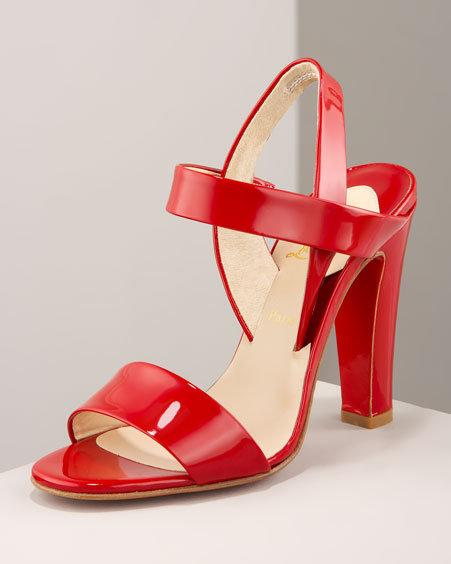 Christian Louboutin Patent Ankle-Wrap Sandal