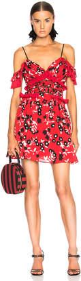 Self-Portrait Self Portrait Cold Shoulder Floral Print Mini Dress in Red | FWRD