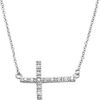 Silver Plate 1/10-ct. T.W. Diamond Sideways Cross Link Necklace