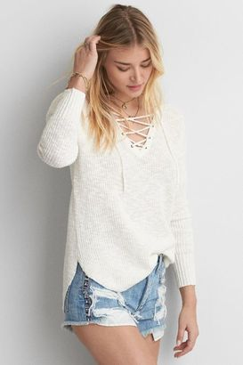 American Eagle Outfitters AE Lace-Up Sweater $44.95 thestylecure.com