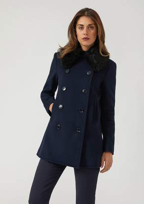 Emporio Armani Short Double-Breasted Coat With Faux Fur Collar