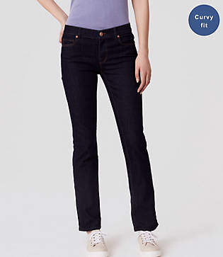 LOFT Curvy Straight Leg Jeans in Dark Rinse Wash