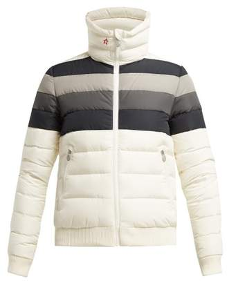 Perfect Moment - Queenie Striped Quilted Down Ski Jacket - Womens - Grey Multi