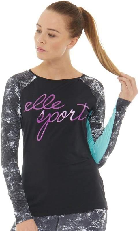 ELLE SPORT Damen Logo Wide Neck Top mit langem Arm Schwarz
