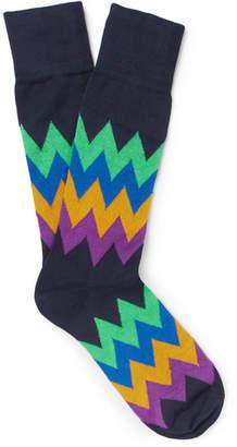 Paul Smith Patterned Stretch Cotton-Blend Socks
