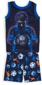 Petit Lem Little Boy's Two-Piece Soccer Pajama Set