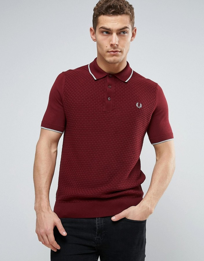 Fred perry check knit polo shirt in red men for Fred perry mens shirts sale