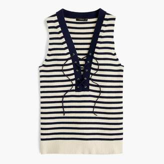 J.Crew Ribbed lace-up sweater tank in stripe