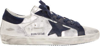 Golden Goose Superstar Navy Star Silver Sneakers