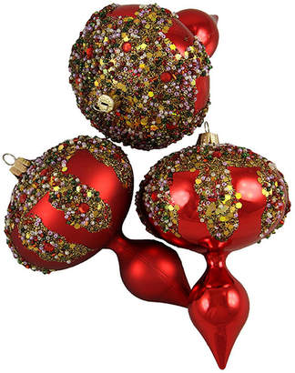 Asstd National Brand 3ct Red Glitter Sequin Beaded Shatterproof Christmas Finial Ornaments 5