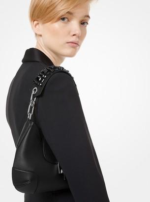Michael Kors Bancroft Crystal Embellished Leather Small Shoulder Strap