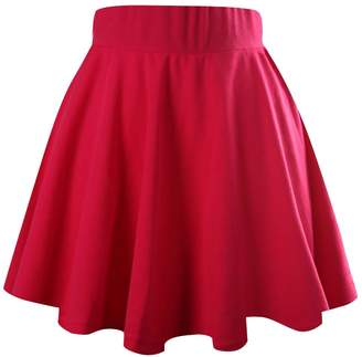 jntworld Women's Basic A Line Stretch high Waist Flared Plain Pleated Skater Mini Skirt, M