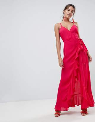 Asos DESIGN Ultimate Ruffle Front Cami Wrap Maxi Dress