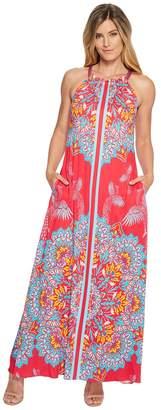 Hale Bob Fierce Creatures Stretch Satin Woven Maxi Dress Women's Dress