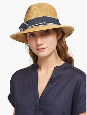 7ed56b1d John Lewis & Partners Denim Trim Fedora Sun Hat, Natural