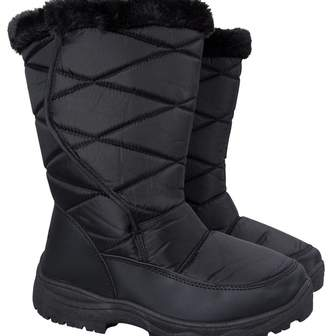 Warehouse Mountain Ice Women's Snow Boots with Fur - Durable Water Repellent, Snow Proof Fabric with Sherpa Lining, Faux Fur Trimming & Deep Lugs