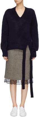 Short Sentence Sash tie V-neck sweater