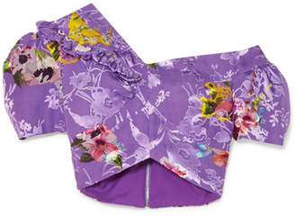 Preen by Thornton Bregazzi Valentina Ruffled Floral-print Fil Coupé Silk-blend Top - Purple