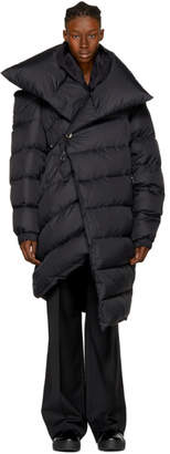 Marques Almeida Black Down Long Asymmetric Puffer Coat