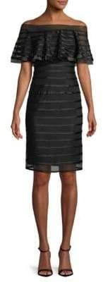 Betsy & Adam Power Mesh Stripes Sheath Dress
