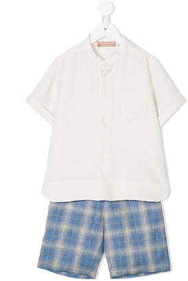 La Stupenderia plain shirt and checked shorts set