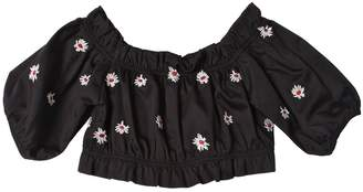 Embroidered Cotton Piqué Cropped Top