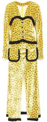Alessandra Rich Floral-printed velvet dress