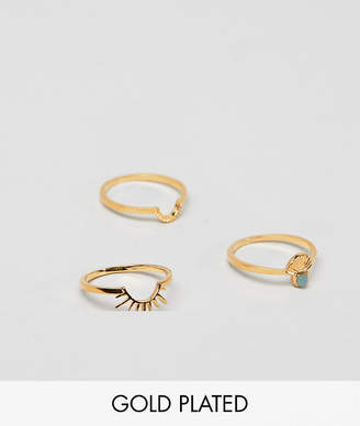 Asos Design DESIGN Gold plated pack of 3 stacking rings in sun ray design