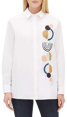 Lafayette 148 New York Everson Long-Sleeve Button-Front Excursion Stretch Blouse w/ Embellished Motif