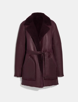 Coach Reversible Shearling Coat With Belt