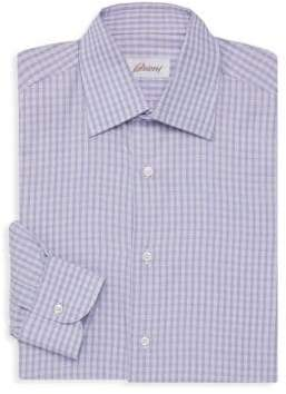 Brioni Houndstooth Plaid Shirt