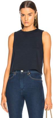 Tibi Pinstripe Knit Sleeveless Cropped Top