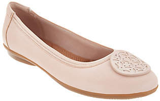 Clarks Leather Medallion Comfort Ballet Flats -Gracelin Lola