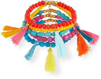 Panacea Multi-Tassel Stretch Bracelets, Set of 5