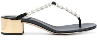 Rene Caovilla pearl embellished T-bar sandals