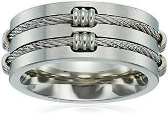Men's Steeltime Stainless Steel Wire Inlay Ring