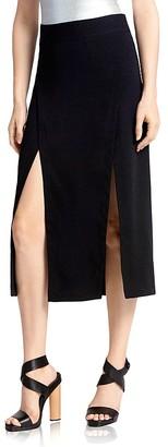 HALSTON HERITAGE Double Slit Midi Skirt $245 thestylecure.com
