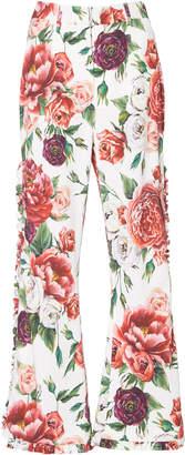 Dolce & Gabbana Peony-Print High-Rise Flared Pants
